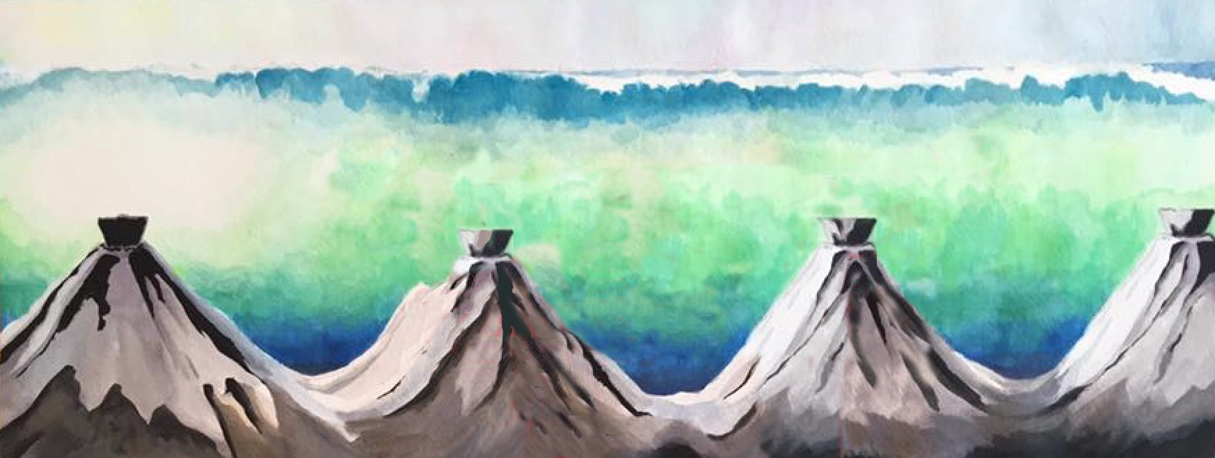 Edited version of a painting of a dream: plugged volcanoes with a cresting wave beyond them, poised to fall.