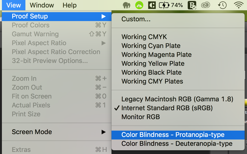 Path to colorblindness previews in Adobe Photoshop